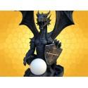Lampe Dragon Grande Statuette Guerrier Dragons Bouclier Mobilier Fantasy Gothique