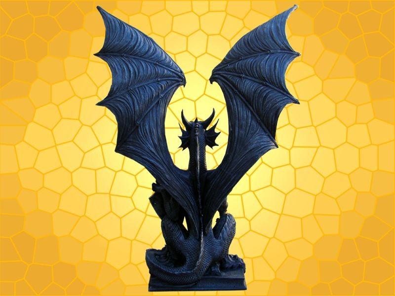 Guerrier Statuette Dragons Grande Mobilier Lampe Dragon Bouclier 2HIWED9