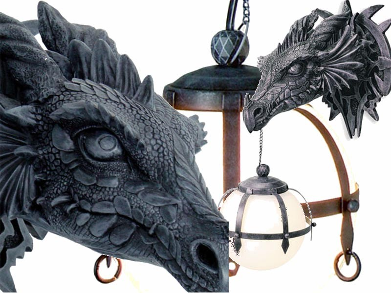 Lampe Tete Dragon Applique Murale Gothique Dragons Mobiler Fantasy