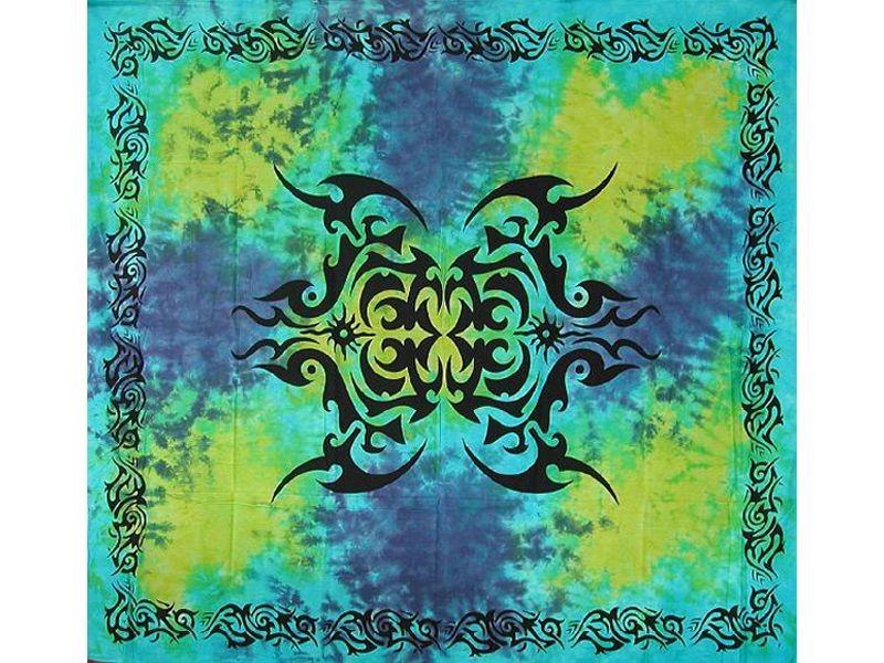 Tenture CELTE Grand Modèle Tribal Bleu Vert Esprit Celtique Médiéval - Anticae