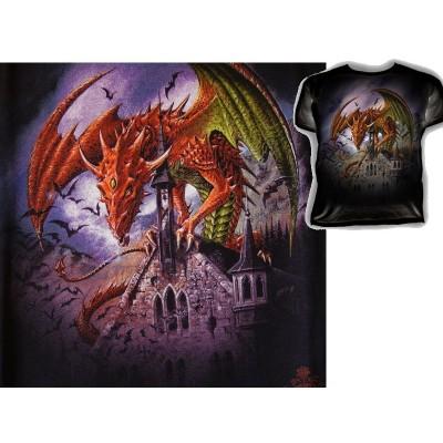 T Shirt SNAGOV Tee Shirts Fantasy Alchemy Gothic Dragon et Cathédrale