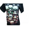 T Shirt Crâne Yeux Verts et Rouges Tee Shirts Gothiques Crânes Macabres