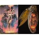 Poignard Fantasy (Feu) Couteau et Boite avec Femme et Volcan