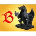 Statuette Résine Dragon Guerrier Figurine Fantasy Dragons sur Base et Haches