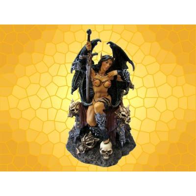 Statuette Barbare Succube Guerrière Démone Figurine Fantasy Trône et Crânes