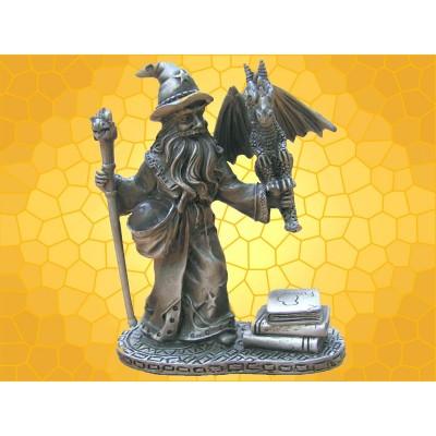 Figurine Sorcier avec Bébé Dragon Statuette Étain Magicien, Livres et Boule Magique