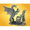 Magicien et Dragon devant un Chaudron Magique Sorcier Humain Dragonet Sortilege