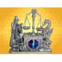 Magicien et Dragon la Pesée Statuette Étain Livres et Balance Magique