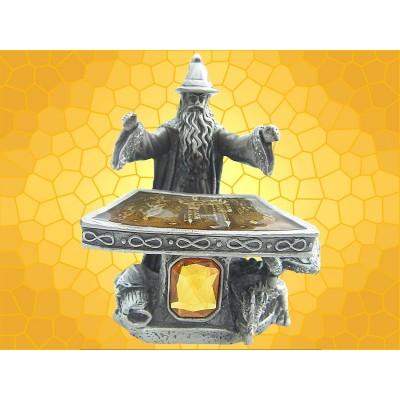 Statuette Magicien Debout Figurine en Étain Sorcier Devant son Autel