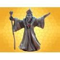 Statuette Magicien Figurine en Étain Sorcier Humain Fantasy avec Bâton