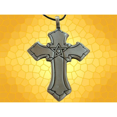 Pendentif Croix Collier Pentagramme Symbolique Fantasy Antique