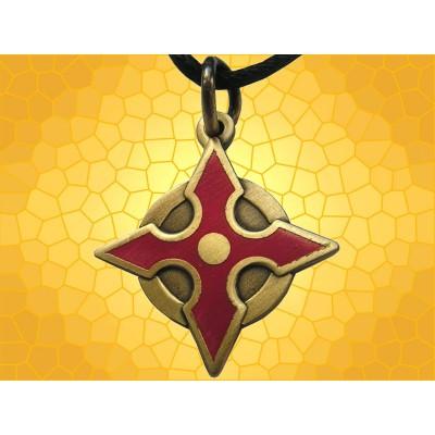 Pendentif Fantasy Bijou Red Shuriken Arme de Lancer Émaillé Rouge
