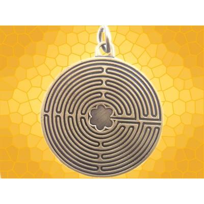 Pendentif Labyrinthe de Chartres Bijou Symbolique Finition Bronze Antique
