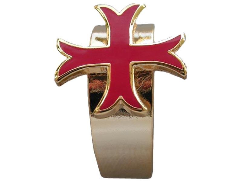 Bague Croix Templière Pattée Bijou Médiéval Doré Émaillé Rouge Anneau  Réglable 09baf047ac5a