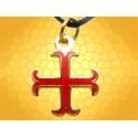 Pendentif Croix Cathare Bijou Moyen Age Doré Émaillé Rouge