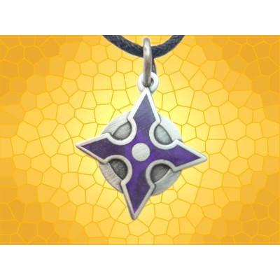 Pendentif Fantasy Bijou Violet Shuriken Arme de Lancer Émaillé