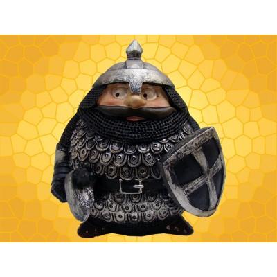Booble Head Figurine Chevalier Moustachu Marrant en Armure Statuette Médiévale Hache et Bouclier