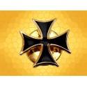 Pin's Croix Teutonique Croix Chrétienne Finition Or émaillé Noir