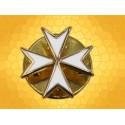 Pin's Croix de Malte Croix Templière Finition Or émaillé Blanc
