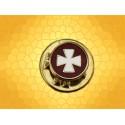 Pin's Croix Templière Émaillée Blanc sur Fond Rouge