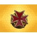 Pin's Croix Templière Or Vif Émaillé Rouge