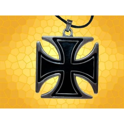 Pendentif Croix Templière Pattée Argentée Noire Bijou Chevalier du Temple Moyen Age