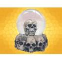 Boule à Neige Macabre Crâne Humain et Empilement Crânes Boule Verre Gothique Squelette