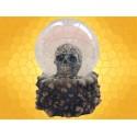 Boule à Neige Crâne Gravé de Runes et Ossements Boules Verre Gothique Squelette