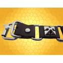 Bracelet Cuir Acier Marron Cinq Croix Pattées Bijou Médiéval Bracelets Style Moyen Age