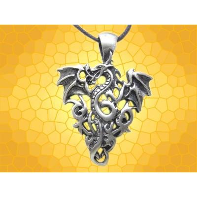 Pendentif Dragon dans les Flammes Bijou Dragons de Feu Gothique Fantasy