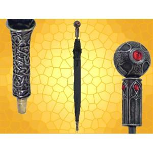Parapluie Celtique Pépin Gothique Fantasy Dragon et Gemme Rouge