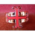 Bague Croix Cathare émaillée Rouge Réglable Médiévale