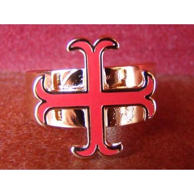 Bague Croix Cathare émaillée Rouge Réglable Médiévale - Anticae 7a67eac53deb