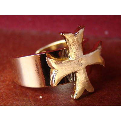 Bague Croix Chrétienne Templier Pattée Rentrée Dorée - Anticae 85cf779afa1c