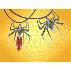 Collier Araignée Rouge Couteau Bijou Red Spider Fantasy Gothique