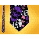 Cravate Grands Crânes Violet Blanc Rose Cravates Soie Gothiques Psychédélique Fantasy