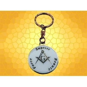 Porte-Clefs Maçonnique Equerre Compas Force Sagesse Beauté Blanc Porte Clés Symbolique