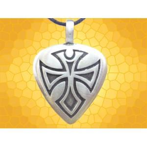 Pendentif Coeur Bijou Fantasy Gravé Coeurs Croix Symbolique
