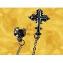 Boucle Oreille Menottes Crane et Croix Alchemy Gothic Bijou Fantasy Gothique
