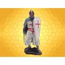 Figurine Chevalier du Temple Bouclier levé Épée et Cape Bleue Guerrier Médiéval Croisades