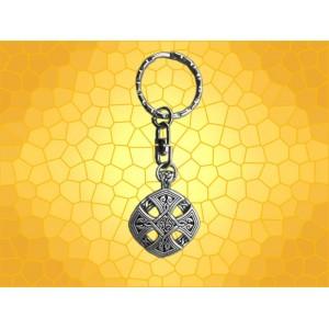 Porte Clefs Celtique Croix Porte-Clef Celte Roue Finition Argent Antique