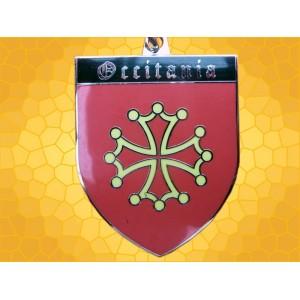 Porte Clés Occitan Chevalier Émaillé Rouge Doré Noir Occitanie