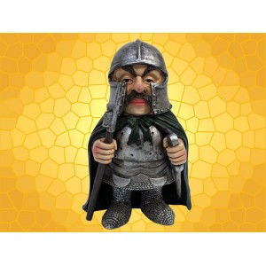 Figurine Grand Chevalier Vilain Armure Épée Lance Statuette Marrante Médiévale