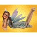 Statuette Fée Fillette Allongée Robe et Ailes Bleues Clair  Fairy Figurine