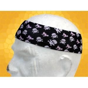 Bandana Gothique Bandeau à Cheveux Crânes et Tibias Roses