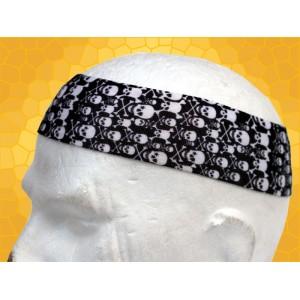 Bandana Gothique Bandeau à Cheveux Petits Crânes Tibias Blancs