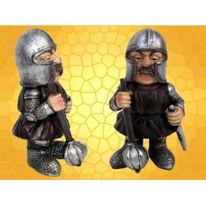 Figurine Vilain Chevalier Armure Épée Masse Armes Statuette Guerrier Moyen Age