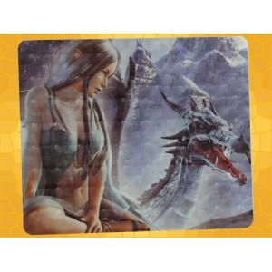 Tapis de Souris Fantasy Dragon de Glace et Jeune Elfe Brune