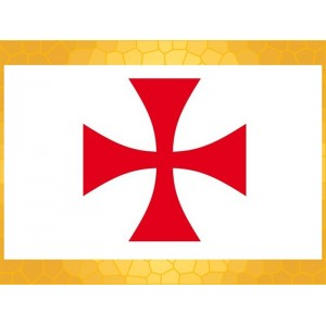 Drapeau Templier 150 x 90 cm Croix Templière Bannière Tissu Rouge Fond Blanc