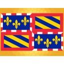 Drapeau Bourgogne 150 x 90 cm Fleurs de Lys Jaunes sur un Fond Bleu marine Drapeaux Régionaux